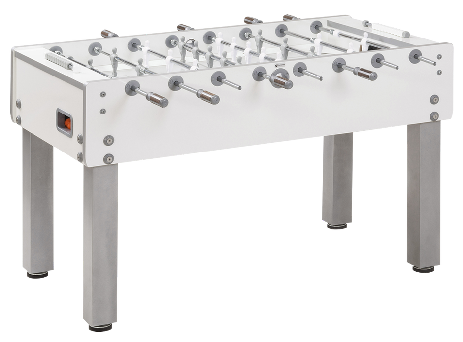 Foosball/Fotbollsspel Garlando G500 Pure White Spelyta Vit Teleskopiska