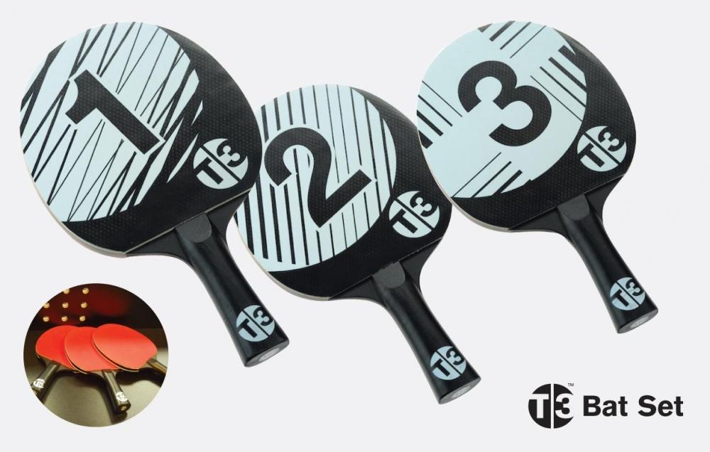 Bordtennisracket T3 Pingis T3B Racketset 3-pack